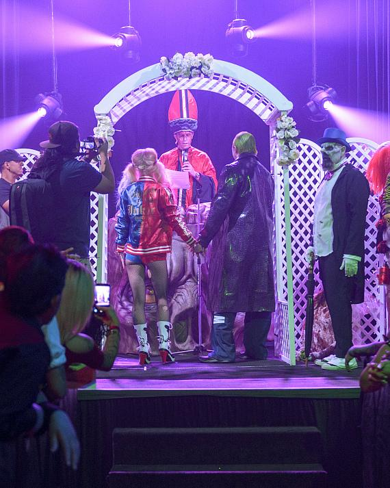 Fright Dome owner Jason Egan presides over the first Fright Dome wedding!