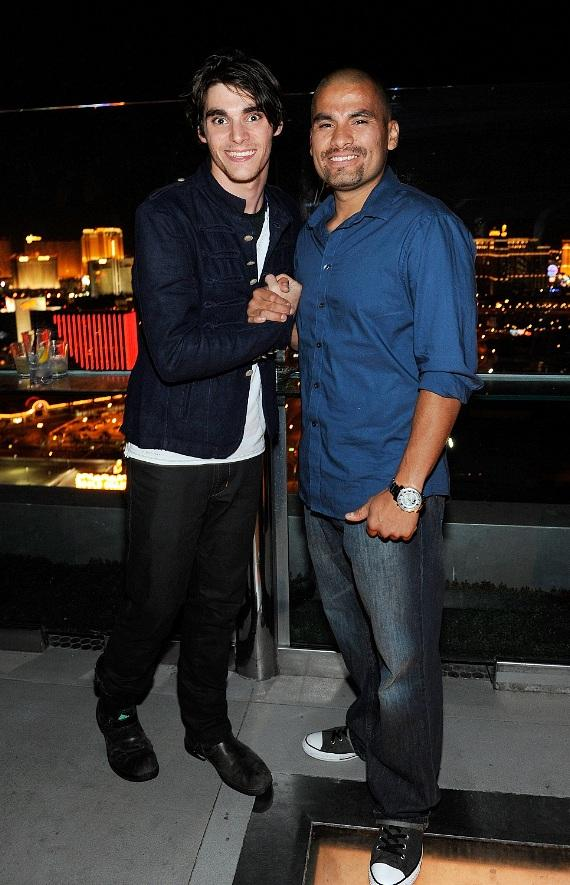 RJ Mitte and Daniel Moncada are all smiles while checking out the magnificent view of the Las Vegas skyline below from Ghostbar's patio