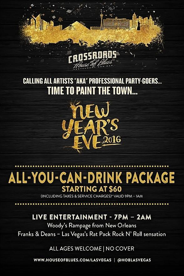 Crossroads at House of Blues offers All-You-Can-Drink Package and NYE Show with Guitar Legend Slash!