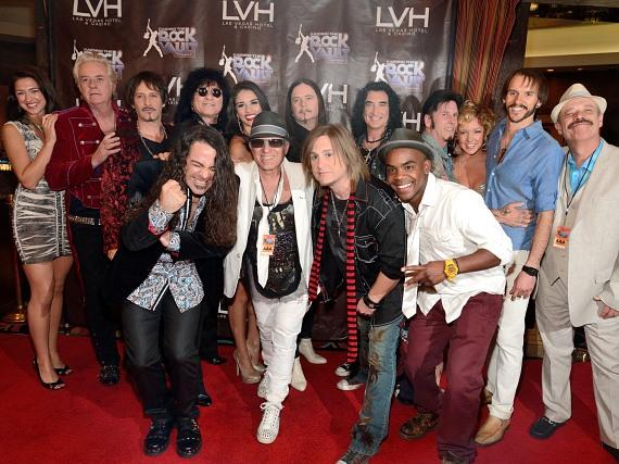 Cast of Raiding the Rock Vault on red carpet at Las Vegas Hotel & Casino