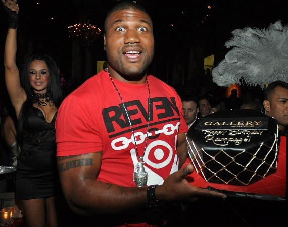 Rampage Jackson with birthday cake