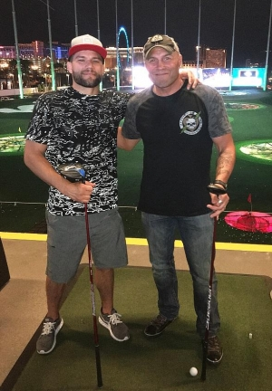 Jermaine Kearse, Reggie Bush, Golden Tate, Sam Martin and Randy Couture spotted at Topgolf Las Vegas