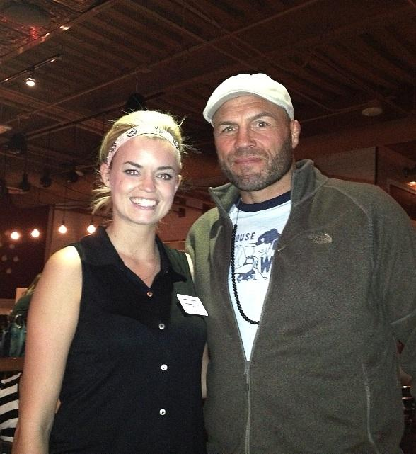 Randy Couture with staff member at Meatball Spot