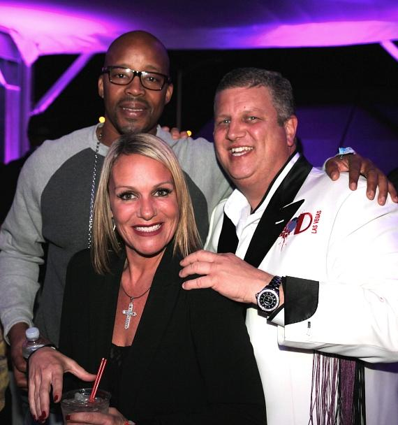 Rapper Warren G, Nicole Parthum and Derek Stevens at the D Las Vegas' VIP cabana at Life Is Beautiful Festival