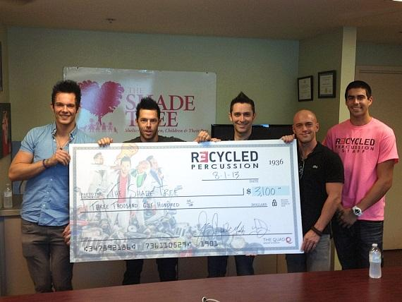 Recycled Percussion donates to The Shade Tree