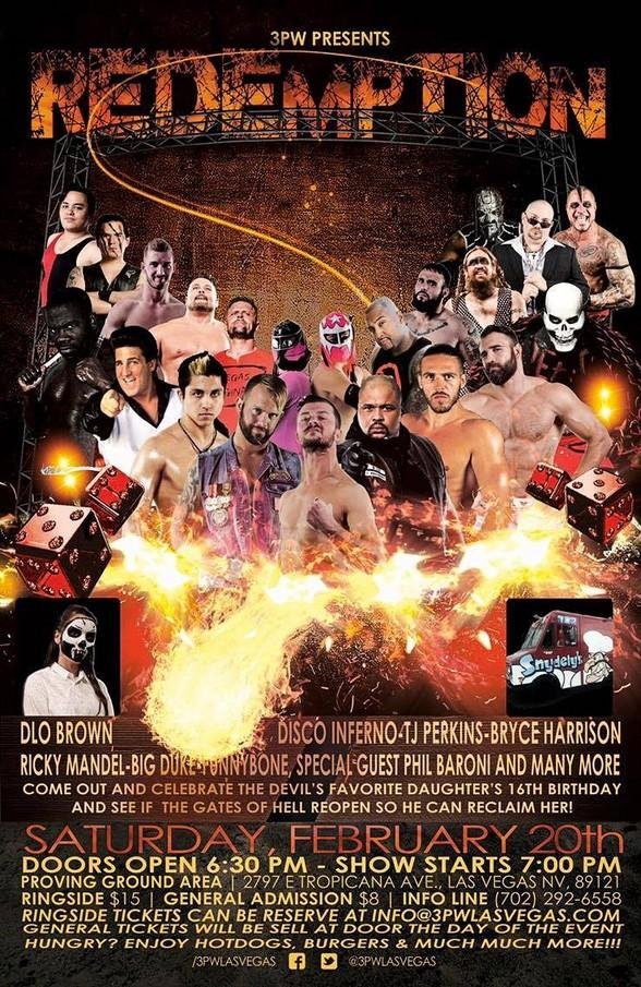 3PW Wrestling Returns to Las Vegas for REDEMPTION on Saturday, February 20