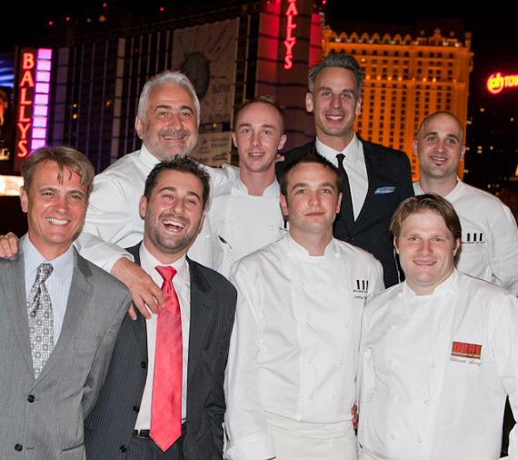 General Manager Alain Alpe, Caesars Palace Director of Restaurants Franck Savoy, Chef Mathieu Chartron, Guy Savoy, Bon Appétit Editor-in-Chief Adam Rapoport, and members of the Guy Savoy Culinary team.