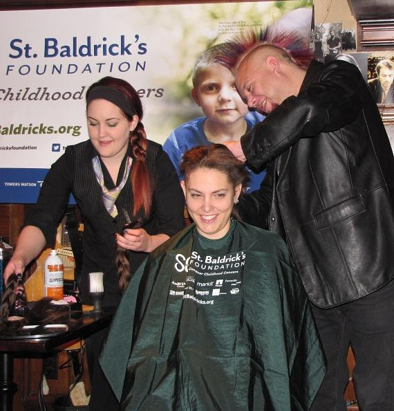 Food critic Al Mancini shaves a head at the Rí Rá Las Vegas' St. Baldrick's Fundraiser
