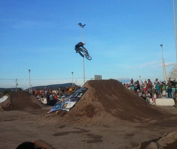 Ricardo Laguna rides his BMX in new dirt park in La Paz, Mexico