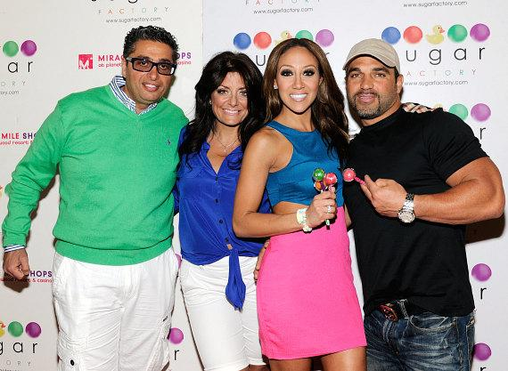 Richard and Kathy Wakile and Melissa and Joe Gorga inside Sugar Factory