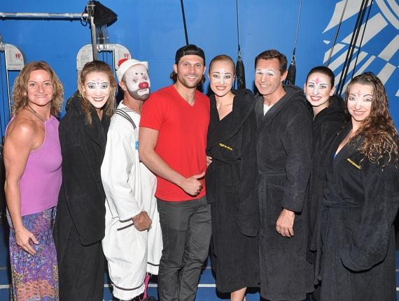 "Rio Olympic Medalist Cody Miller with cast members of ""O"""