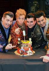 """Million Dollar Quartet"" Celebrates Anniversary of that Legendary Dec. Night with a Rockin' Cake Presentation at Harrah's Las Vegas"