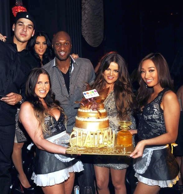 Robert Kardashian, Kim Kardashian, Kris Humphries, Lamar Odom and Khlo Kardashian Odom celebrate at Chateau Nightclub &amp; Gardens
