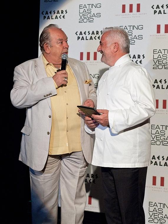 Guy Savoy accepts his Eating Las Vegas award from Robin Leach