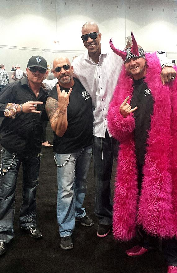 "Counting Cars stars Roli Szabo, Kevin Mack and Horny Mike with former NBA player Jerome ""Junkyard Dog"" Williams at the Nightclub & Bar Show in Las Vegas"
