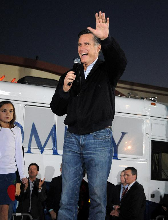 Mitt Romney speaks at a campaign rally at Metro Pizza