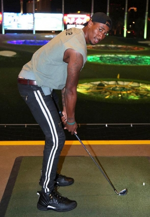 Brooklyn Nets' Rondae Hollis Jefferson at Topgolf Las Vegas; Imagine Dragons' Dan Reynolds at Andiron Steak & Sea
