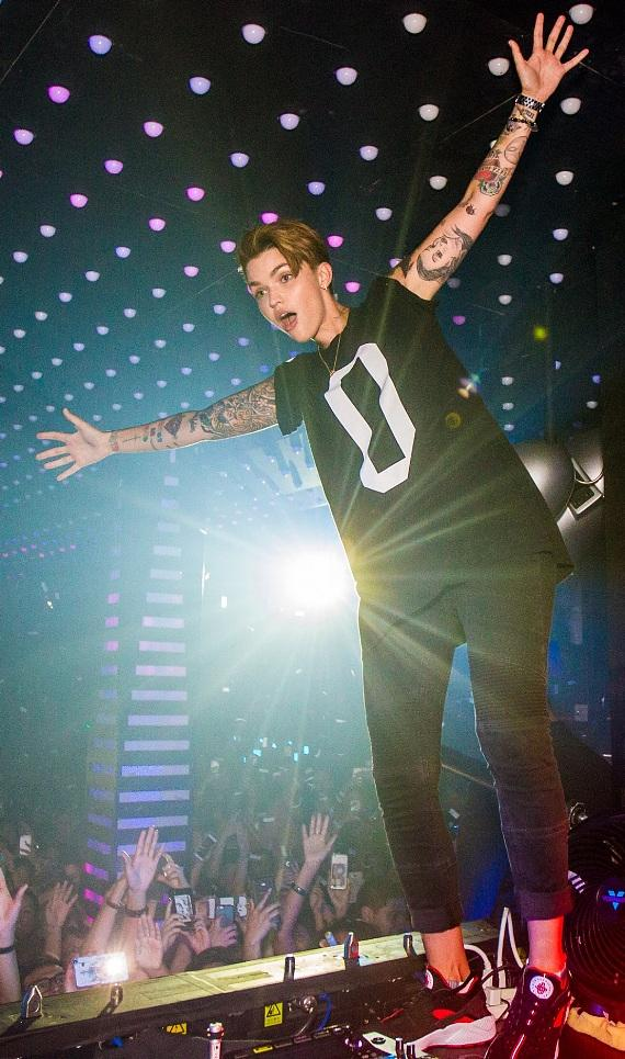 Ruby Rose on Top of DJ Booth at Temple Nightclub