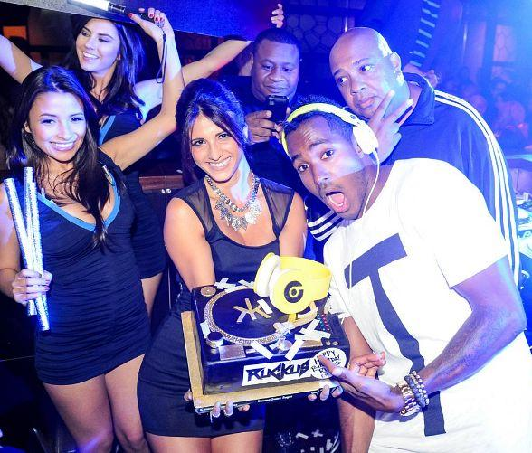 DJ Ruckus with birthday cake at Hakkasan Ling Ling Club