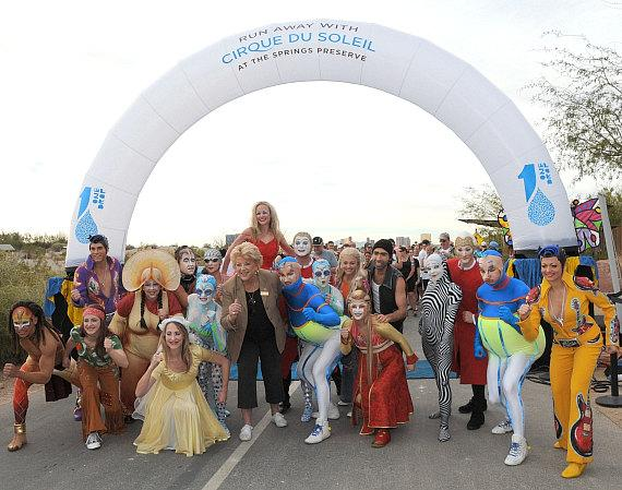 """Mayor Goodman helps start the 11th Annual """"Run Away with Cirque du Soleil"""" at Springs Preserve"""