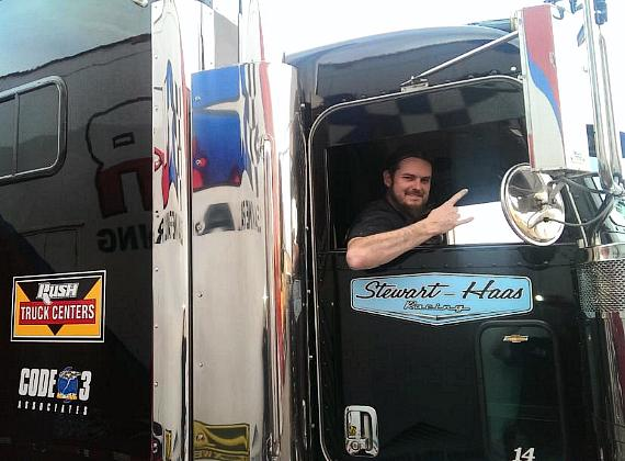 Ryan Evans in NASCAR hauler parade