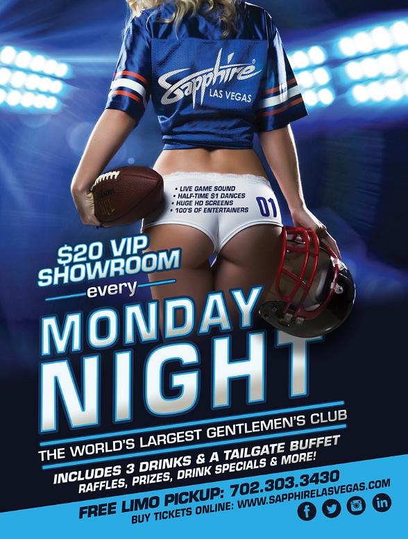 Sapphire hosts Indianapolis Colts vs. Carolina Panthers Monday Night Football with $1 Halftime Dances Nov. 2