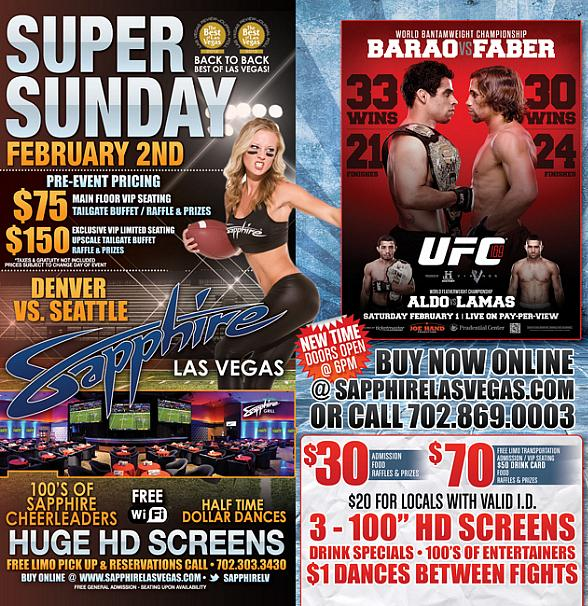 A Super Weekend at Sapphire: UFC 169 on Saturday, Feb. 1 and Super Bowl on Sunday, Feb. 2!