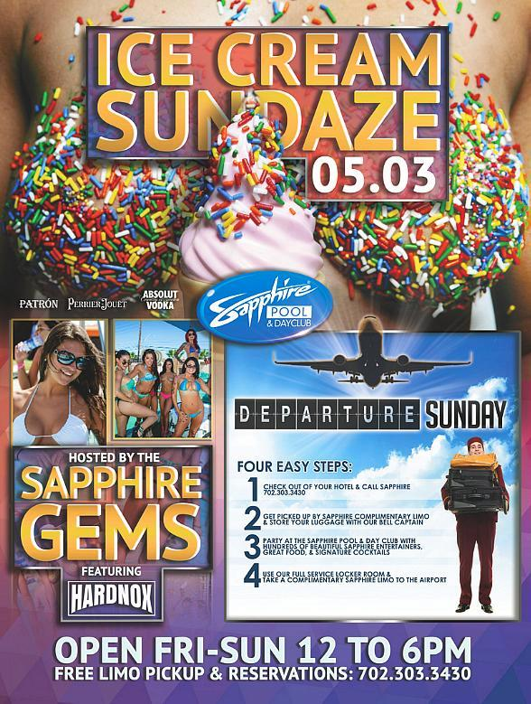 "Sapphire Pool & Day Club to host ""Ice Cream Sundaze"" and ""Departure Sunday"" May 3"