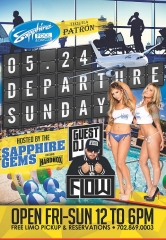 Sapphire Gems and HardNox host Departure Sunday at Sapphire Pool & Dayclub with Guest DJ Flow on May 24