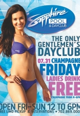 Ladies Drink Free Champagne 4-6pm at Sapphire Pool & Dayclub on Champagne Friday July 31