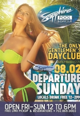 Locals Drink Free 12-2pm at Sapphire Pool & Dayclub on Departure Sunday August 2
