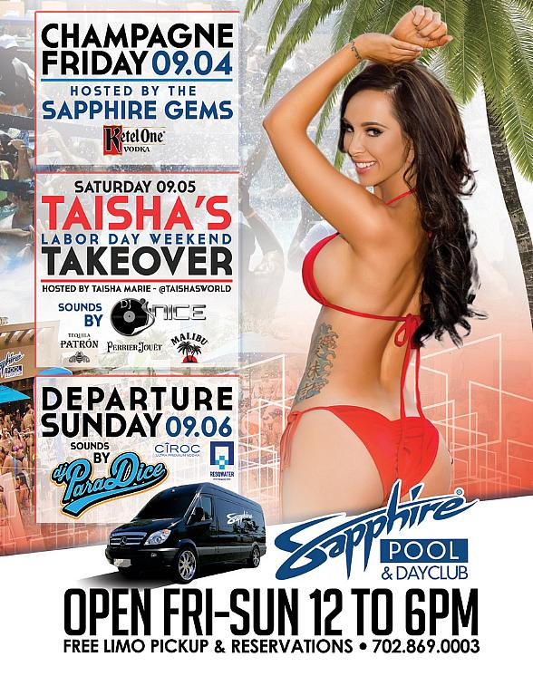 Party at Sapphire Pool & Dayclub on Labor Day Weekend at Sapphire Dayclub Las Vegas