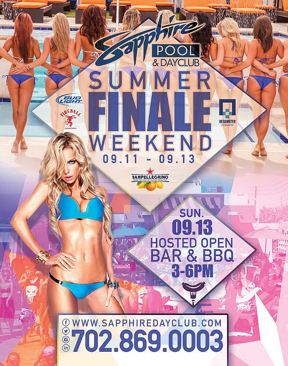 Summer Finale Weekend at Sapphire Pool & Dayclub with Champagne Friday (9/11), Selfie Saturday (9/12) and Summer Finale (9/13)