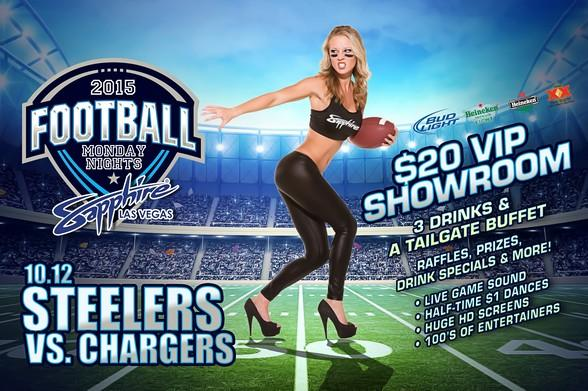 Sapphire hosts Pittsburgh Steelers vs. San Diego Chargers Monday Night Football with $1 Halftime Dances Oct. 12