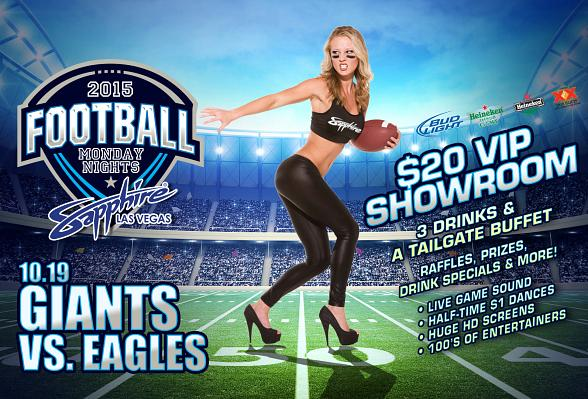 Sapphire to host New York Giants vs. Philadelphia Eagles Monday Night Football with $1 Halftime Dances Oct. 19