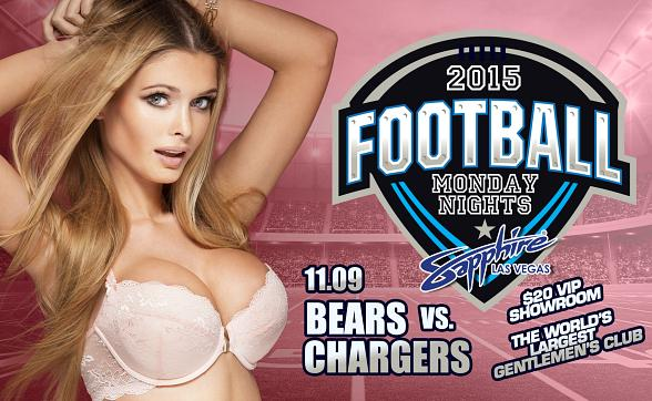 Sapphire hosts Chicago Bears vs. San Diego Chargers Monday Night Football with $1 Halftime Dances Nov. 9