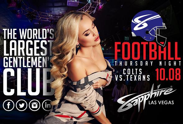 Sapphire to host Indianapolis Colts vs. Houston Texans Football on Thursday, Oct. 8 with $1 Halftime Dances