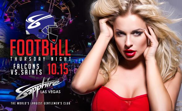 Sapphire to host Atlanta Falcons vs. New Orleans Saints Football on Thursday, Oct. 15 with $1 Halftime Dances