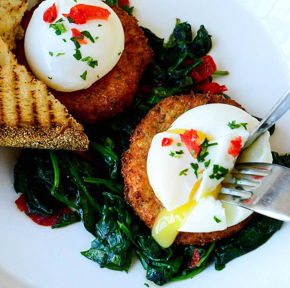 Salmon Cakes Benedict at GIADA at The Cromwell