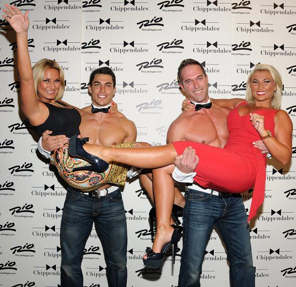 Sam & Billie Faiers pose with Chippendale Dancers in Las Vegas