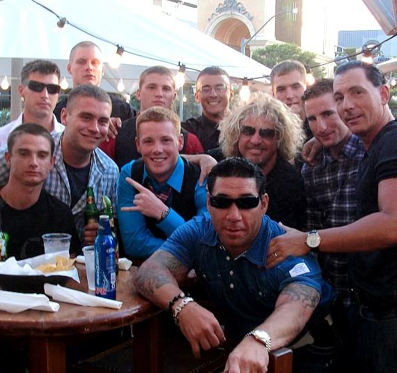 Sammy Hagar dines with U.S. Marines at his Cabo Wabo Cantina inside Miracle Mile Shops at Planet Hollywood Resort & Casino in Las Vegas.  Pictured: U.S. Marines Rory Folsom, Derek Long, Derek Spaulding, Matthew Schultz, Cody Cornwall, Beau Poston, Matthew Muggia, Kyle Illies and Sean Welch, former Marine Frankie Laino, Sugar Factory partner Steve Davidovici and Sammy Hagar.