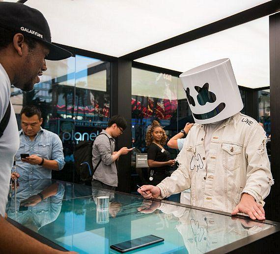 DJ Marshmello checks out the Galaxy products
