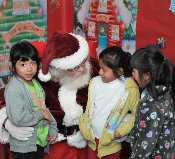 Santa with club kids