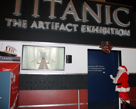 Santa boards the Titanic exhibit