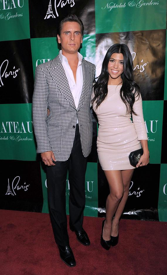 Scott Disick and Kourtney Kardashian walk the red carpet at Chateau Nightclub & Gardens