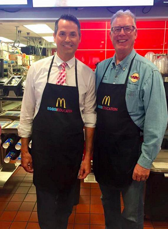 FOX5 Las Vegas Dave Hall with Mayor of Henderson Andy Hafen supporting Eggs for Education at McDonald's to raise scholarship money for Ronald McDonald House Charities of Greater Las Vegas