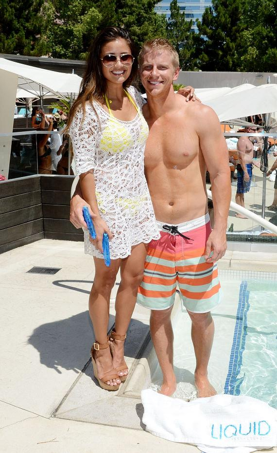 Catherine Giudici and Sean Lowe at LIQUID Pool Lounge at ARIA
