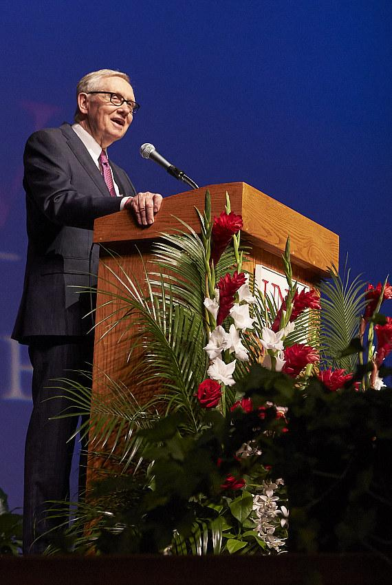 Sen. Harry Reid speaks during the UNLV School of Medicine White Coat Ceremony at Artemus Ham Hall