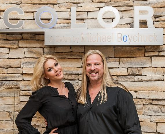 Shanna Moakler and Michael Boychuck at COLOR Salon