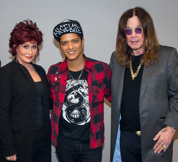Sharon Osbourne, Bruno Mars and Ozzy Osbourne at The Cosmopolitan of Las Vegas